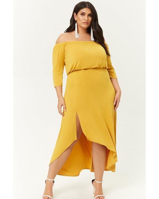 973bb20303350 Forever 21 - Yellow Women's Plus Size Off-the-shoulder High-low Dress ...