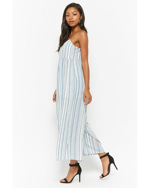 86c5fd0abaa8 ... Forever 21 - Blue Plaid Cami Wide-leg Jumpsuit - Lyst