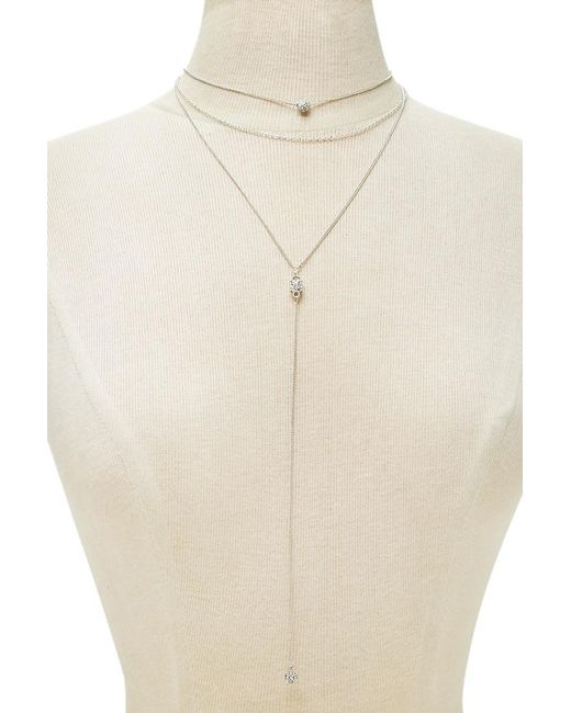 Forever 21 | Metallic Layered Rhinestone Necklace | Lyst