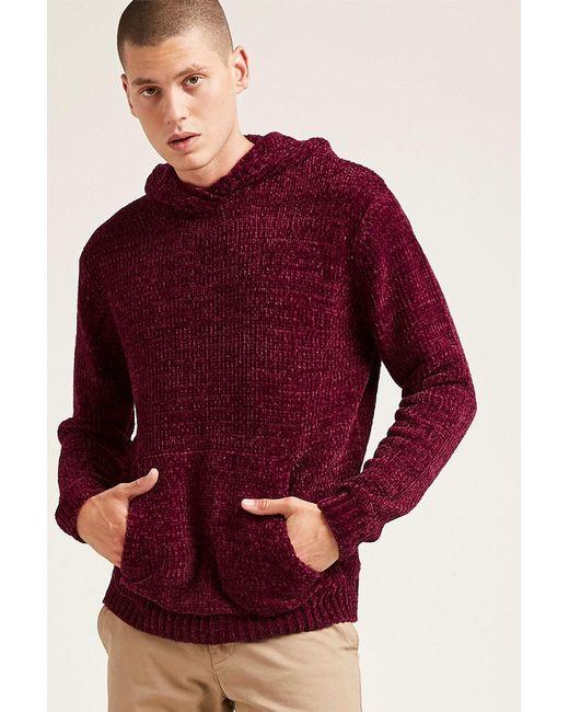 Forever 21 | Red Hooded Chenille Sweater for Men | Lyst