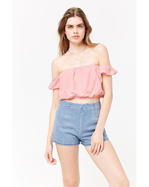 93b1e157e013d9 Forever 21 - Multicolor Striped Off-the-shoulder Crop Top - Lyst ...