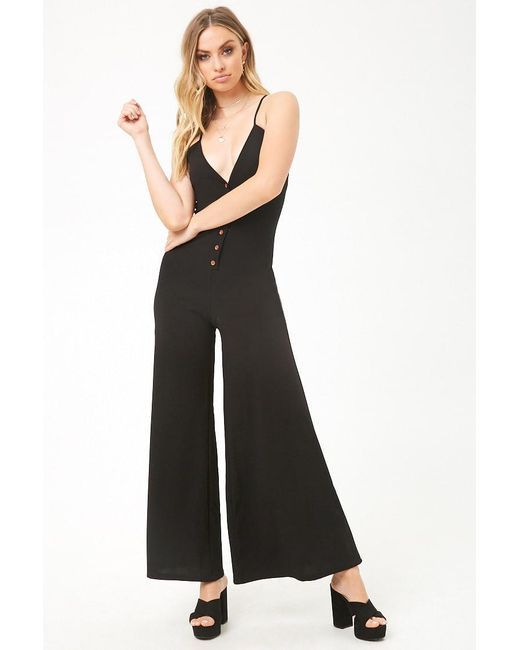 1d8fb15379b Forever 21 - Black Button-front Palazzo Jumpsuit - Lyst ...