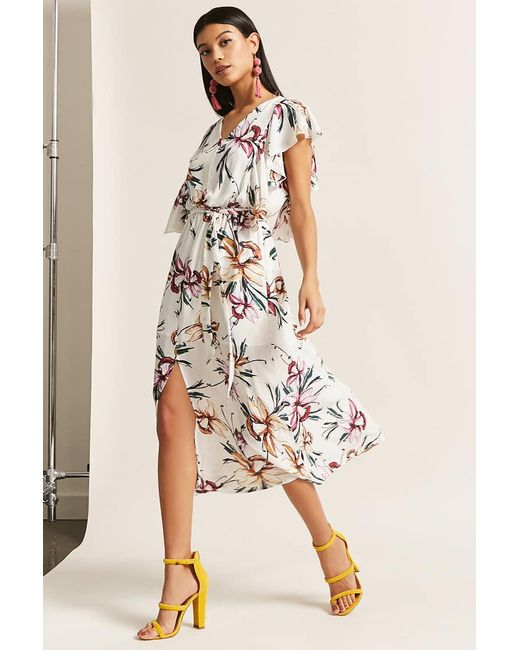 Forever 21 | White Orchid Print Dress | Lyst