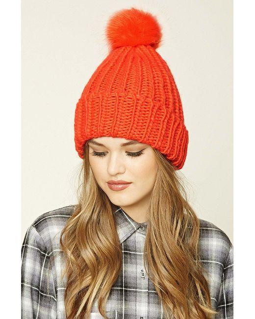 Forever 21 - Orange Ribbed Knit Pom-pom Beanie - Lyst