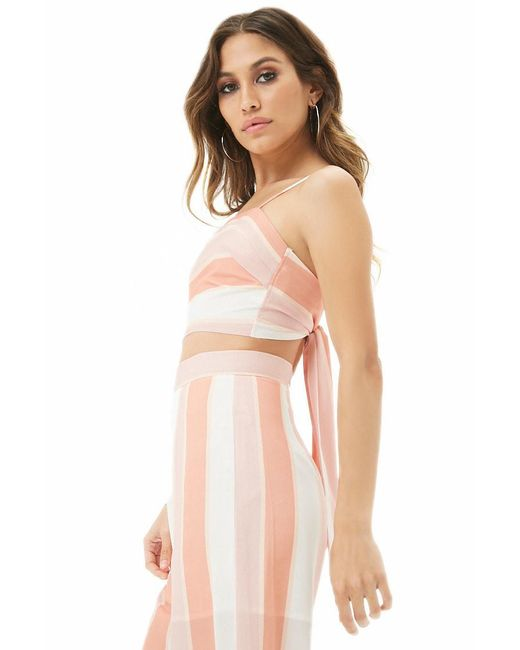 6e591dd3bfe ... Forever 21 - Natural Women s Selfie Leslie Striped Tie-back Camisole Top  - Lyst