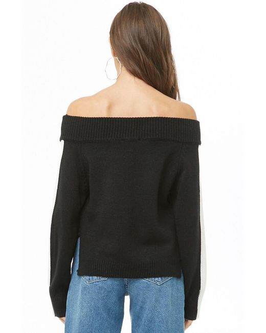 bbfd040d510 ... Lyst Forever 21 - Black Women s Ribbed Off-the-shoulder Jumper Sweater  ...