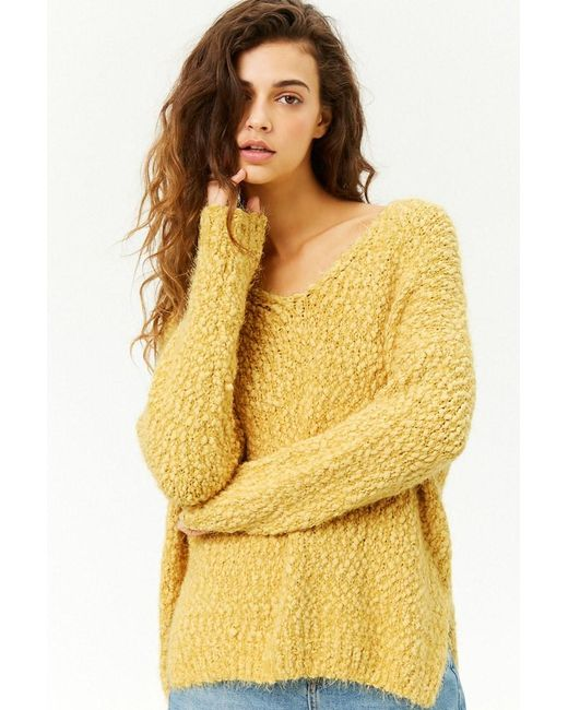 Forever 21 - Yellow Women's Fuzzy Knit Sweater - Lyst