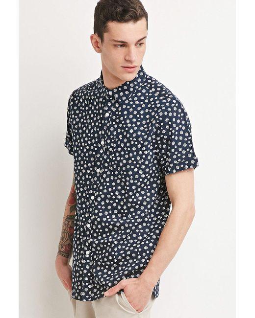 Forever 21 - Blue Abstract Polka Dot Shirt for Men - Lyst