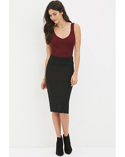 Forever 21 - Black Sweater-knit Pencil Skirt - Lyst