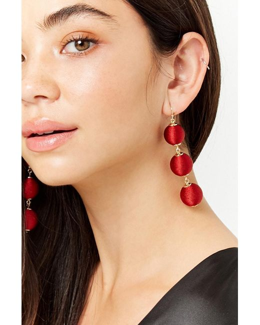 Forever 21 - Tiered Fabric Bauble Earrings - Lyst