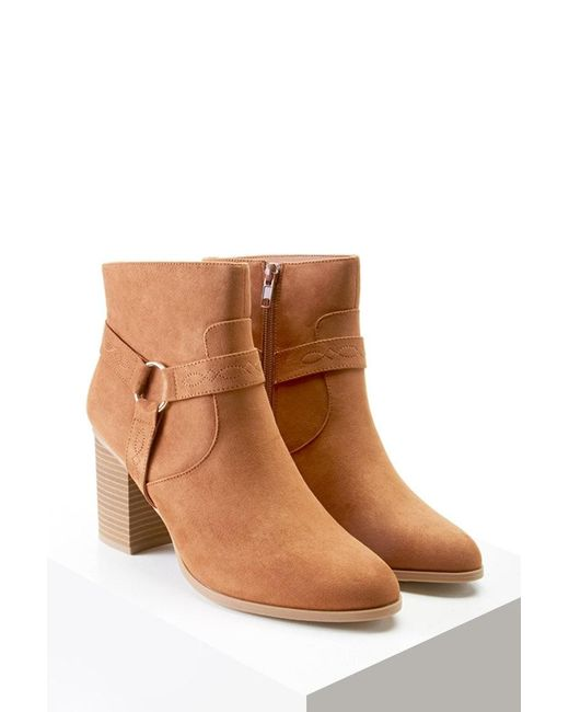 Forever 21 | Brown Embroidered Faux Suede Boots | Lyst