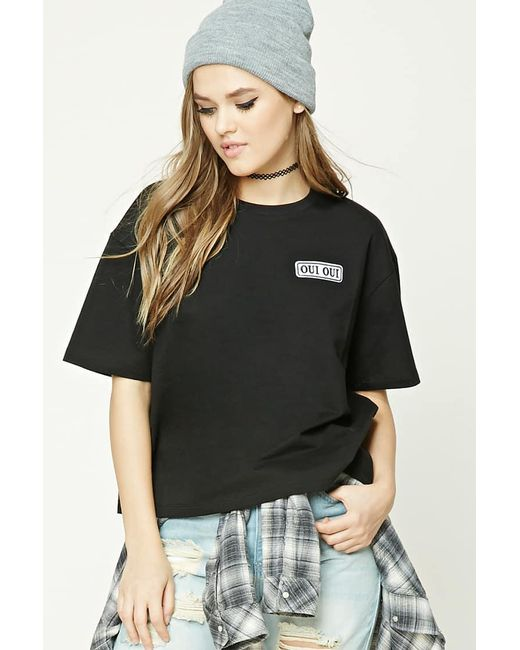 Forever 21 - Black Oui Oui Patch Tee - Lyst