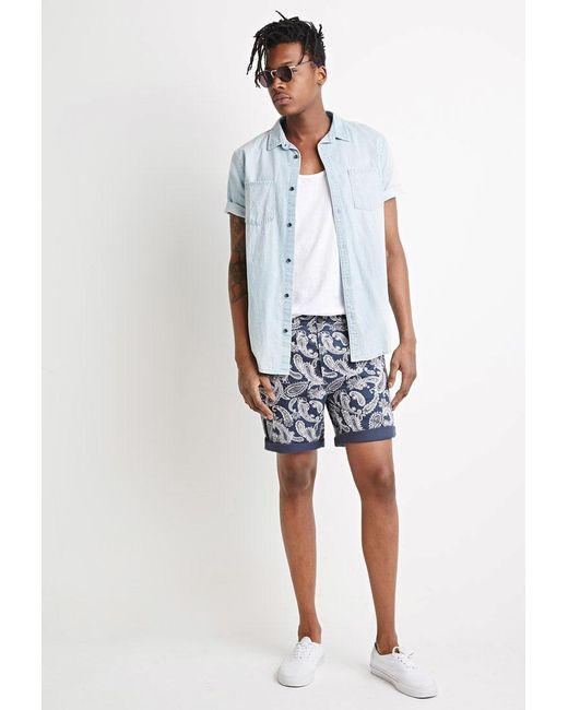 Forever 21 - Blue Paisley Print Shorts for Men - Lyst