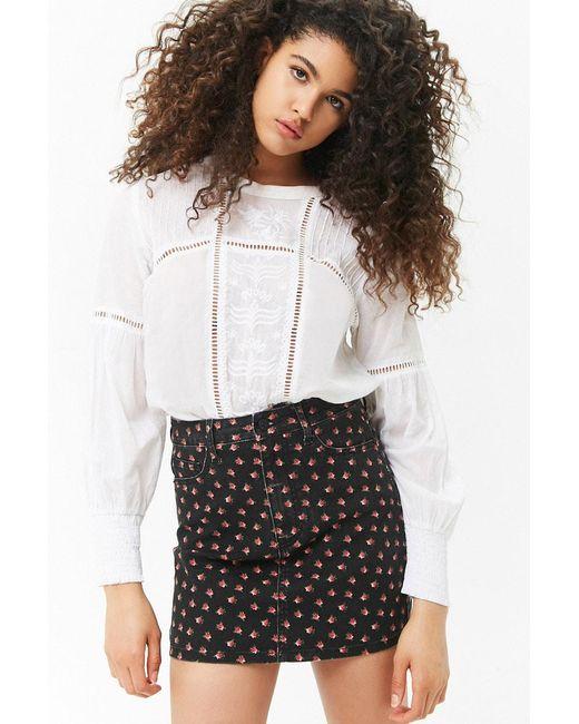 Forever 21 - Black Rose Print Denim Mini Skirt - Lyst