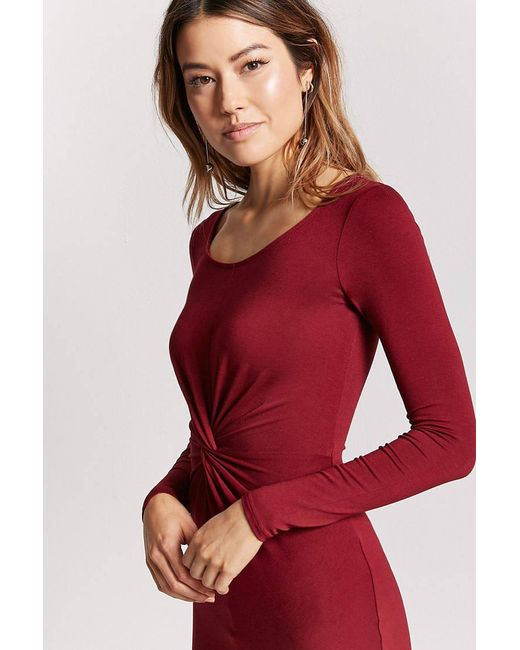 Forever 21 - Red Twist-front Bodycon Dress - Lyst