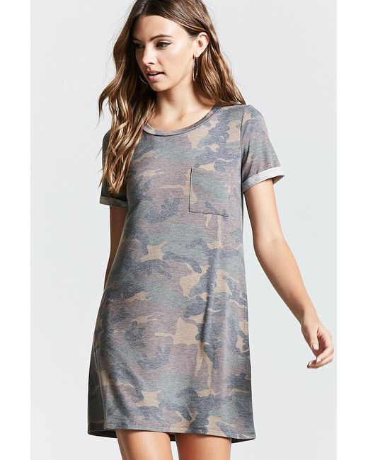 1d3ac953eb Source · Forever 21 Women s Pocket Camo T shirt Dress in Gray Lyst