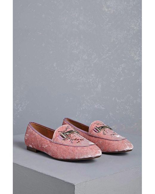 eab16f00fca Lyst - Forever 21 Velvet Embroidered Loafers in Pink