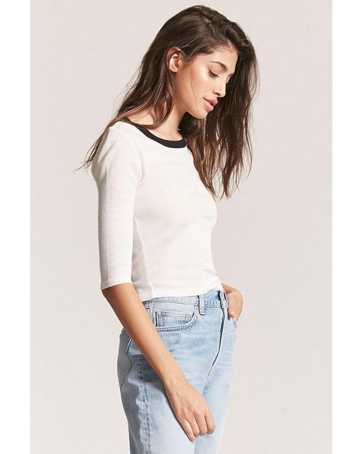 add0145915d990 ... Forever 21 - White Ribbed Knit Tee - Lyst