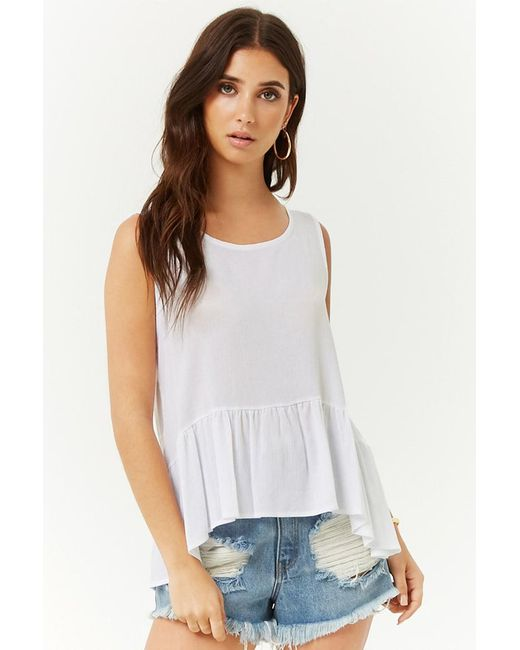 Forever 21 - White Tie-back Ruffled Top - Lyst