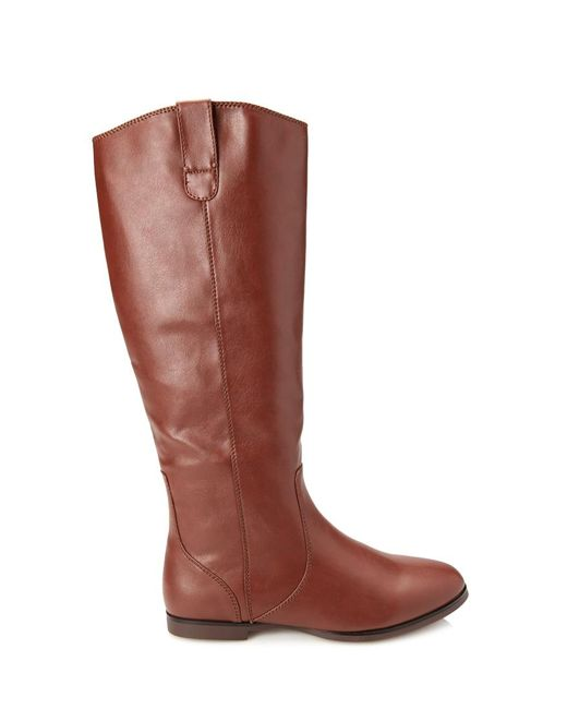 Forever 21 | Brown Faux Leather Riding Boots | Lyst