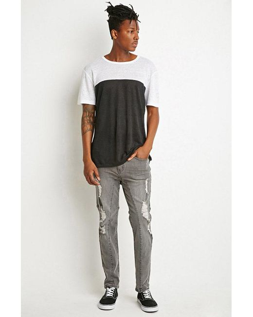 Forever 21 - Gray Paneled Slim Fit Jeans for Men - Lyst