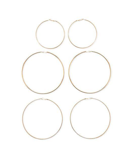 Forever 21   Metallic Textured Hoop Earring Set   Lyst
