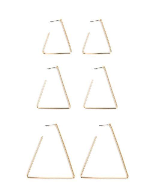 Forever 21 - Metallic High-polish Triangle Hoop Set - Lyst