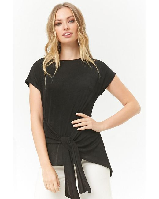 Forever 21 - Black Tie-front Stretch-knit Top - Lyst