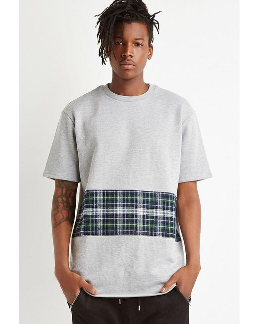 Forever 21 | Gray Oversized Plaid Panel Sweatshirt for Men | Lyst