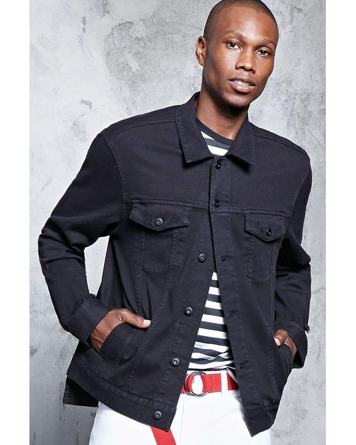 Forever 21 | Black High-low Denim Jacket for Men | Lyst