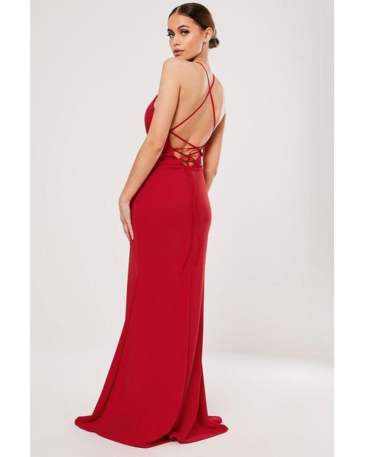 Missguided - Red Lace-up Gown At - Lyst