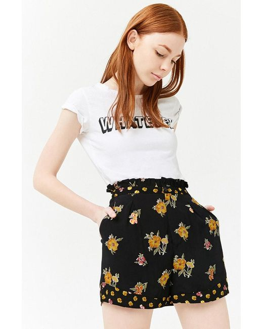 Forever 21 - Black High-rise Floral Print Shorts - Lyst