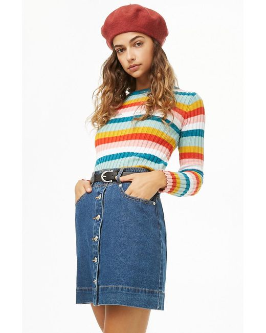 Forever 21 - Blue Ribbed Multicolor Jumper Sweater - Lyst