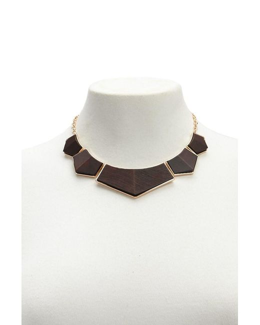 Forever 21 - Multicolor Statement Wood Block Necklace - Lyst