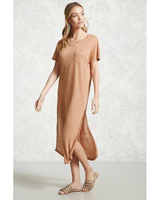 Forever 21 - Brown Slub Knit High-slit Dress - Lyst