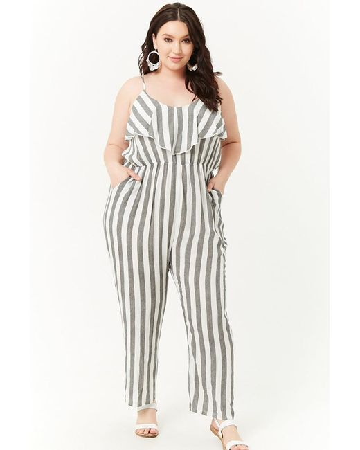 Womens Plus Size Striped Flounce Jumpsuit