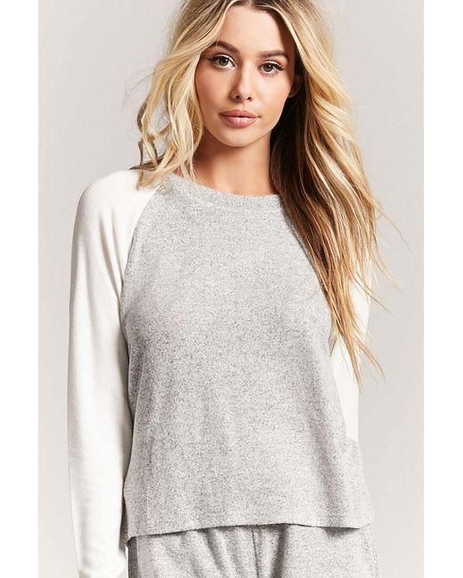 Forever 21 | Gray Heathered Raglan Pajama Top | Lyst