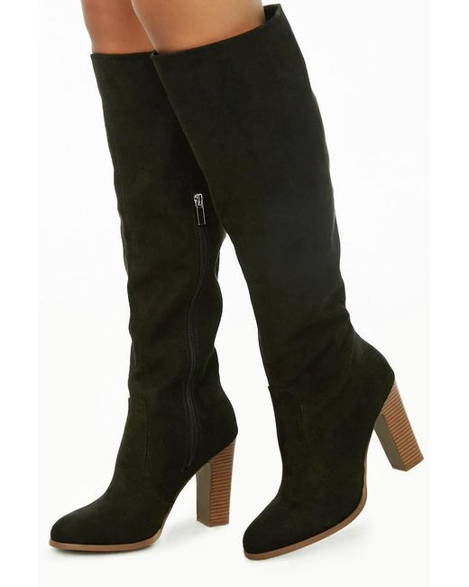 Forever 21 - Black Women's Faux Suede Stacked Heel Boots - Lyst