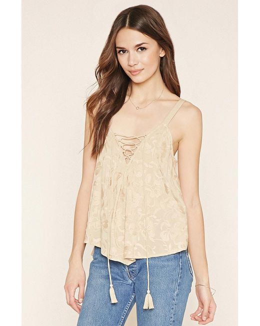Forever 21 | Natural Contemporary Lace-up Top | Lyst