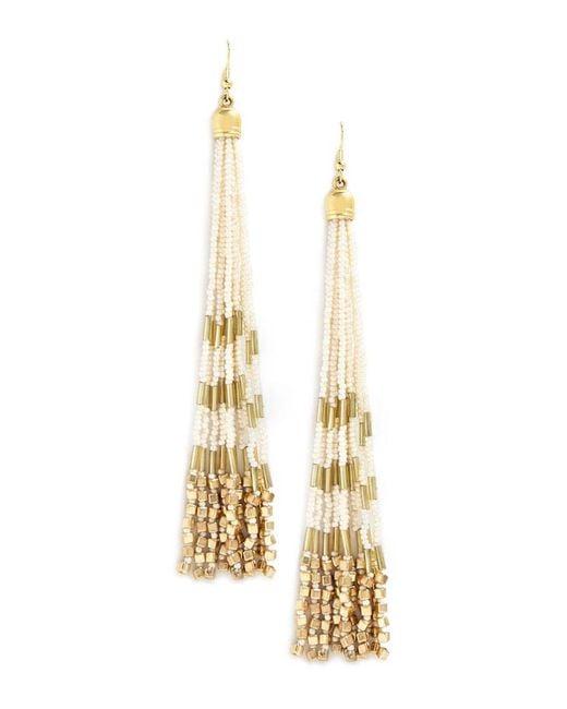 Forever 21 - Metallic Beaded Tassel Duster Earrings - Lyst