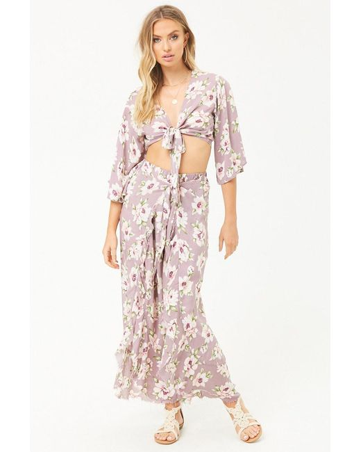 Forever 21 - Purple Surf Gypsy Floral Trousers - Lyst