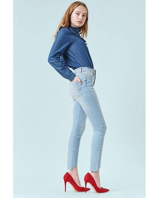 Forever 21 Blue Sculpted High-rise Step-hem Skinny Jeans , Light Denim