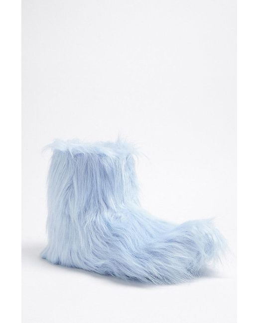 Forever 21   Blue Faux Fur Indoor Boots   Lyst