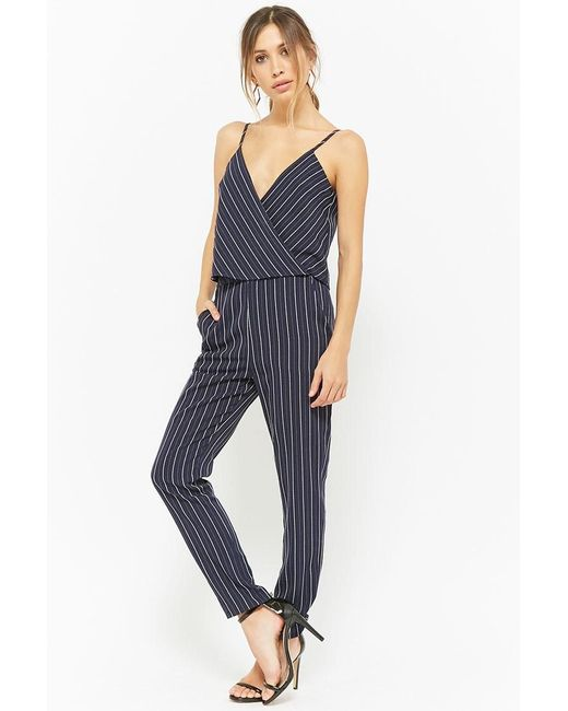 de969c4134ae Forever 21 - Blue Pinstriped Layered Jumpsuit - Lyst ...