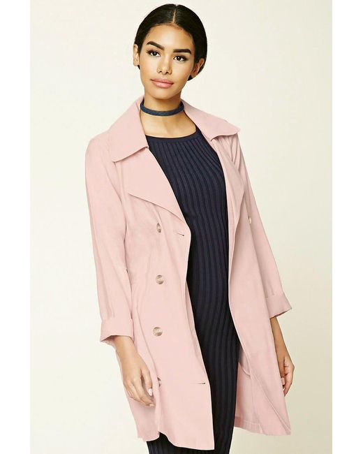 Forever 21 | Pink Belted Trench Coat | Lyst