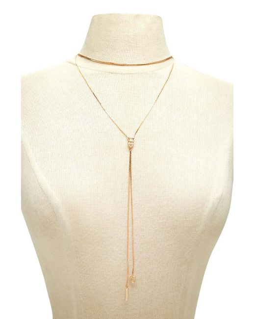 Forever 21 | Metallic Chevron Drop Chain Necklace | Lyst