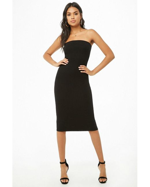 Forever 21 - Black Ribbed Tube Dress - Lyst