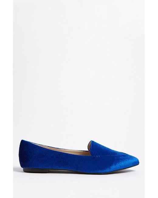 Forever 21 - Blue Velvet Pointed Loafers - Lyst