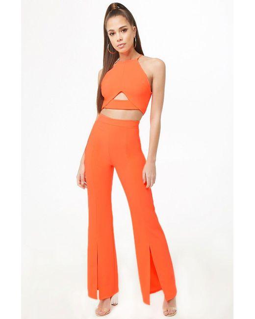 d8017be9a5b Forever 21 - Orange Halter Crop Top   Flare Pants Set - Lyst ...