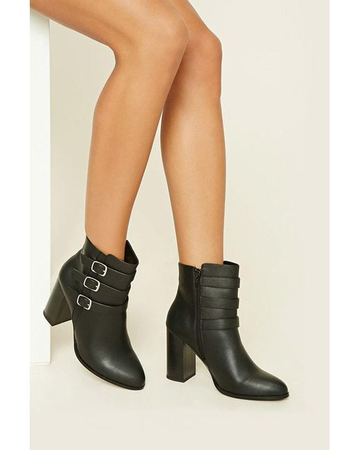 Forever 21   Black Faux Leather Buckle Booties   Lyst
